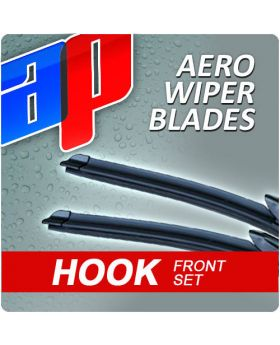 Front Pair AP Aero Flat Wiper Blades - 21 inch & 20 inch - AWB HOOK 21 - AWB HOOK 20