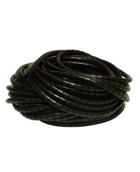 Black Small Spiral Cable Management Wrap - Wire Tidy - 3mm-10mm Cable Diameter - 10 Metre