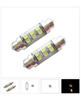 2xLED97 - T10x39mm-6SMD 1210 with tube 12V White