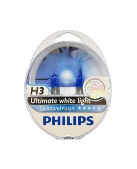 H3 Philips Diamond Vision Upgrade Headlight Bulbs (pair) 12v 55w