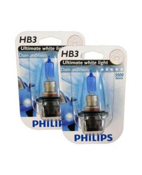 HB3  9005 Philips Diamond Vision 5000K Upgrade Headlight Bulbs (pair) 12v 55w