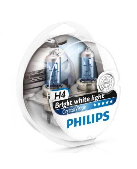 H4 Philips Crystal Vision 4300K Upgrade Headlight Bulbs (pair) 12v 60/55w