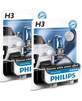 H3 Philips White Vision Upgrade Headlight Bulbs (pair) 12v 55w
