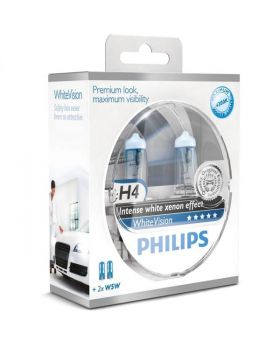 H4 Philips White Vision 3700K Upgrade Headlight Bulbs (pair) 12v 60/55w